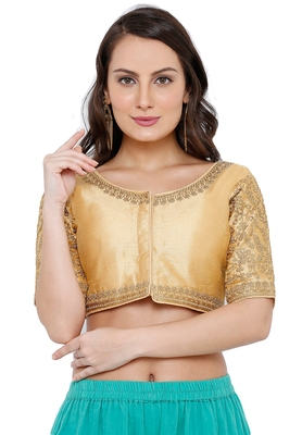Women's Gold Cotton Silk Readymade Free Size Saree Blouse