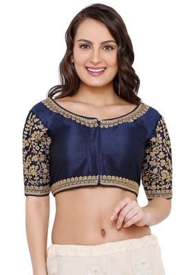 Women's Navy Blue Cotton Silk Readymade Free Size Saree Blouse