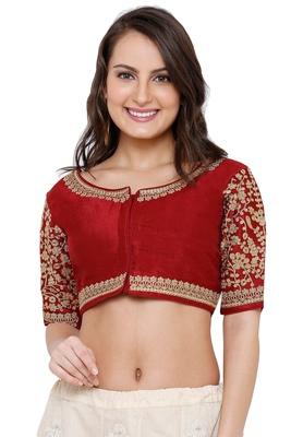 Women's Maroon Cotton Silk Readymade Free Size Saree Blouse