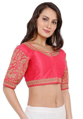 Women's Light Pink Cotton Silk Readymade Free Size Saree Blouse