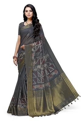 Grey printed cotton saree with blouse