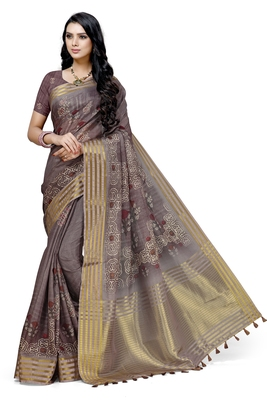 Brown printed cotton saree with blouse