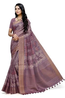 Magenta printed cotton saree with blouse