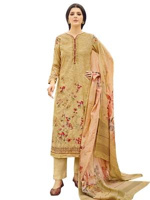 Yellow printed pure silk salwar
