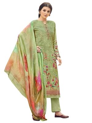 Green printed pure silk salwar