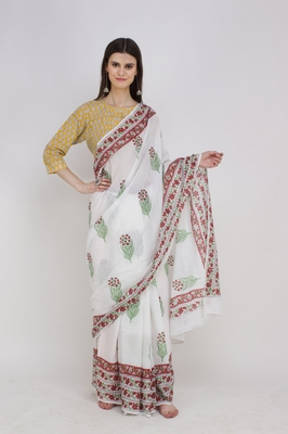 Handblock printed mulmul cotton saree with blouse.