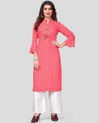 Pink & White Printed And Embroidered Rayon Stitched Straight Women's Kurta With Palazzo Set