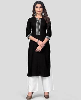 Black & White Embroidered Cotton Stitched Straight Women's Kurta With Palazzo Set