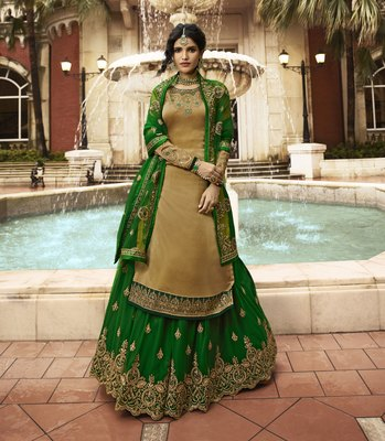 Dark-beige embroidered satin salwar