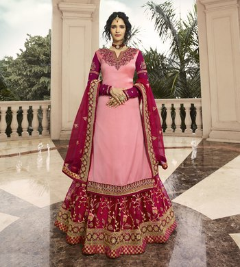 Baby-pink embroidered satin salwar