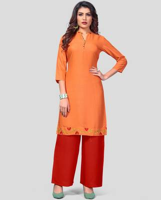 Orange & Red Embroidered Rayon Stitched Straight Women's Kurta With Palazzo Set