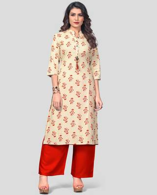 White & Red Printed Cotton Stitched Straight Women's Kurta With Palazzo Set