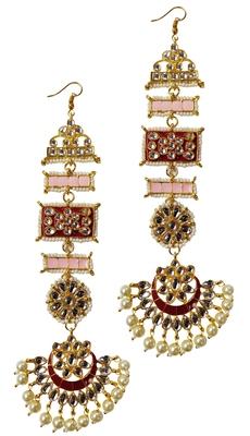 Designer Ethnic Indian Bollywood Kundan Red Pink Meenakari Earrings Set