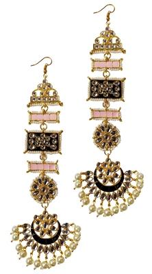 Designer Ethnic Indian Bollywood Kundan Black Pink Meenakari Earrings Set