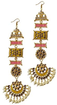 Designer Ethnic Indian Bollywood Kundan Yellow Pink Meenakari Earrings Set