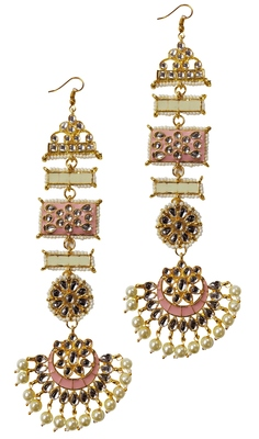 Designer Ethnic Indian Bollywood Kundan Cream Pink Meenakari Earrings Set