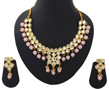 Designer Ethnic Indian Bollywood Kundan Pink Pearl Jewelry Set