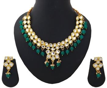 Designer Ethnic Indian Bollywood Kundan Green Pearl Jewelry Set