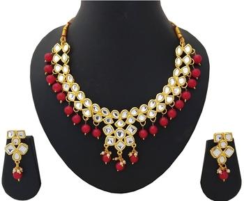 Designer Ethnic Indian Bollywood Kundan Red Pearl Jewelry Set
