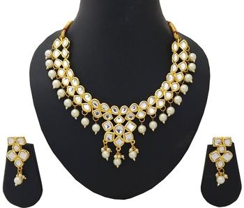 Designer Ethnic Indian Bollywood Kundan White Pearl Jewelry Set