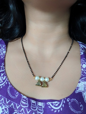 Gold Plated Mangalsutra Golden White Moti Pearl Banu Pendant Black Beads Single Line Layer Mangalsutra
