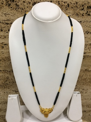 Gold Plated Chain Golden Plated Pendant With Latkan Black Mani Beads Double Line Layer Long Mangalsutra