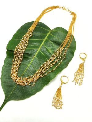 Necklace Set Gold Plated Multi Layer White Pearl Mala Necklace with Hook Earrings Chain Mangalsutra Jewellery