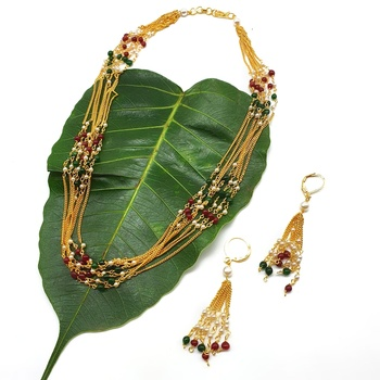 Pride Necklace Set Multicolor White Pearl Beads Multi Layer Mala Necklace with Earrings Gold Chain Mangalsutra