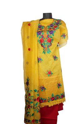 Sihiri Yellow Banaras Supernet Dress Material Punjabi Suit with Yellow Dupatta