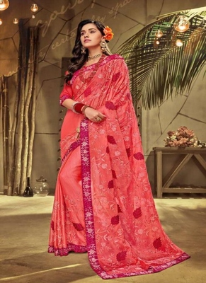 dark peach embroidered fancy fabric saree with blouse