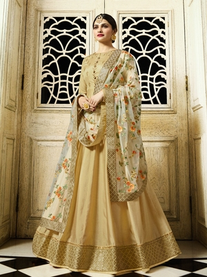 Cream Embroidered Faux Georgette Salwar With Dupatta