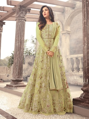 Pista Embroidered Net Salwar With Dupatta