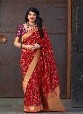 scarlet red woven banarasi silk saree with blouse