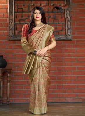 light gold woven banarasi silk saree with blouse
