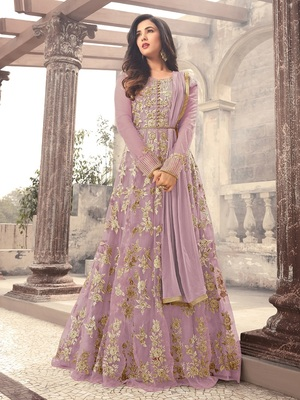 Purple Embroidered Net Salwar With Dupatta