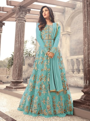 Turquoise Embroidered Net Salwar With Dupatta
