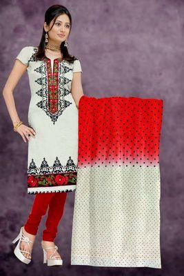 Sihiri White Banaras cotton Silk Dress Material Punjabi Suit with Two Colour Chiffon Dupatta