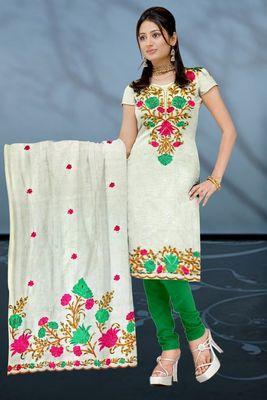 Sihiri White Banaras cotton Silk Dress Material Punjabi Suit with White Banaras Cotton Silk Dupatta