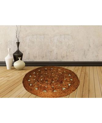 brown plain jute rugs Medium Round