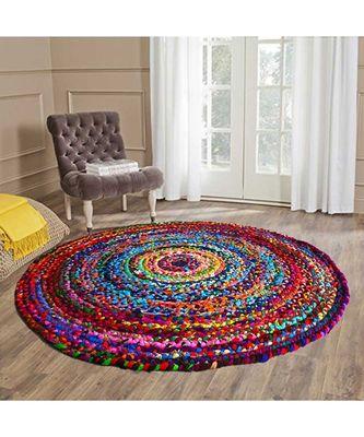 multicolor plain cotton rugs Large Round