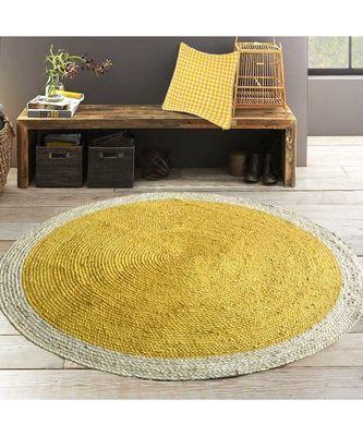 yellow plain jute rugs Large Round