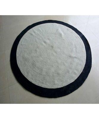 black plain cotton rugs Large Round