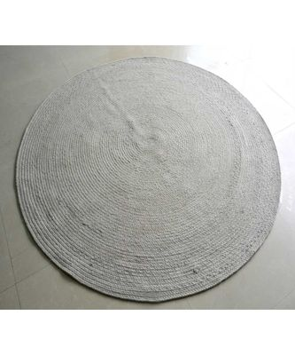 cream plain cotton rugs Large Round