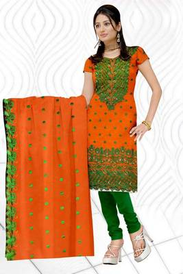 Sihiri Orange Banaras cotton Silk Dress Material Punjabi Suit with Orange Banaras Cotton Silk Dupatta