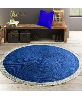 blue plain jute rugs Large Round