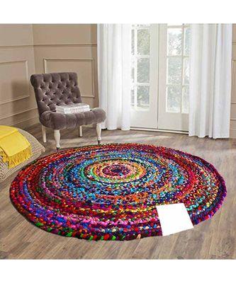 multicolor plain cotton rugs Medium Round