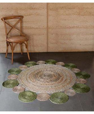 green plain jute rugs Medium Round