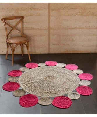brown plain jute rugs Medium Round