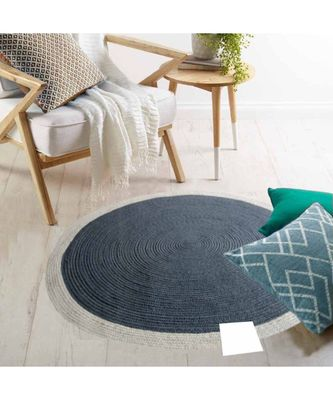 Grey plain cotton rugs Medium Round