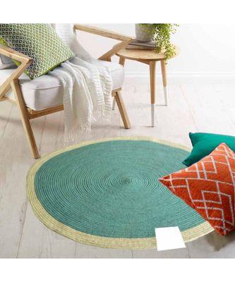 Blue plain cotton rugs Medium Round